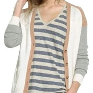 Madewell Colorblock Merino Wool Cardigan Sweater